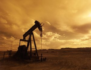 oil drill in Texas sunset